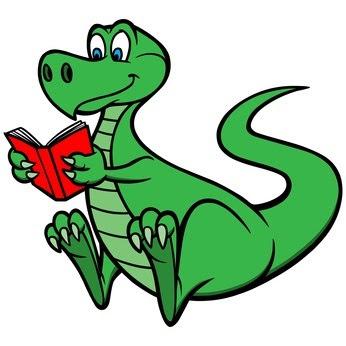 Dino reading a book