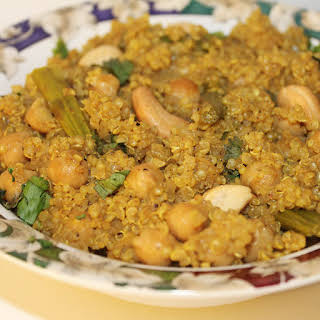 Curried Quinoa With Asparagus and Chickpeas.