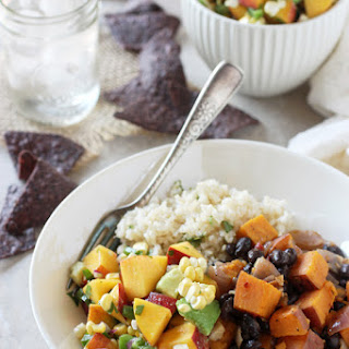 Chipotle Sweet Potato Burrito Bowls with Peach Salsa