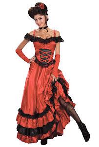 Saloonklänning, röd
