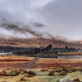 Kilchurn Castle by Alec Bonser - Landscapes Mountains & Hills ( canon, scotland, mountains, loch awe, castle, scenery, misty )