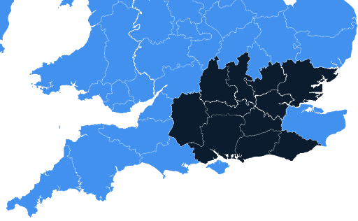 Map of regions Aster Maintenance work in including: Greater London, Berkshire, Buckinghamshire, East Sussex, Essex, Hampshire, Hertfordshire, Oxfordshire, Surrey, West Sussex, Wiltshire