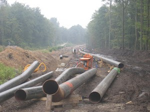 Rohrleitung im Wald.