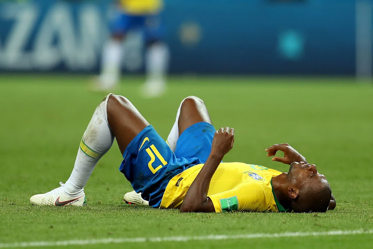 Fernandinho of Brazil looks dejected following his sides defeat in the 2018 FIFA World Cup Russia Quarter Final match.