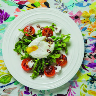 Arugula and Asparagus Salad with Poached Eggs and Sumac Vinaigrette.