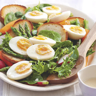 Pickled Eggs with Vegetables and Garlic Crostini.