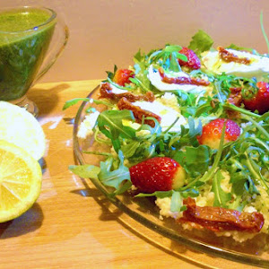 Couscous Salad With Arugula, Mozzarella, Strawberries, Dried Tomato, and Green Sauce
