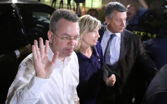 US pastor Andrew Brunson and his wife Norrine arrive at the airport in Izmir, Turkey October 12, 2018.