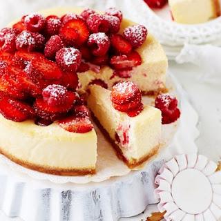 Raspberry And Strawberry Ricotta Cheesecake.
