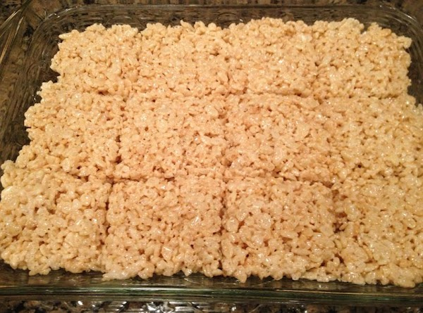 Cut into squares when the mixture cools. Makes 12 large squares.