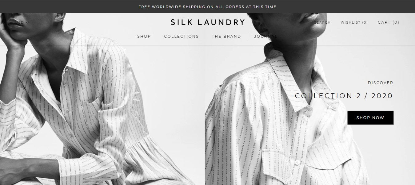 Silk Laundry's landing page - a black and white photo of a woman in a white shirt