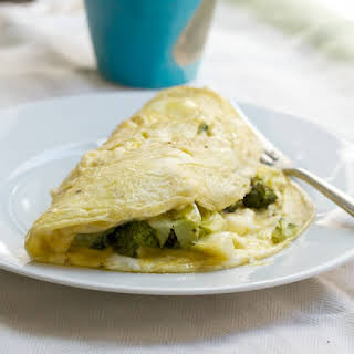 Roasted Broccoli and Goat Cheese Omelets.