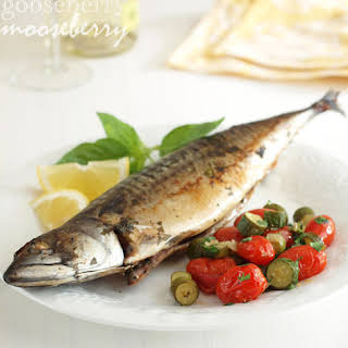 Mackerel with Anchovy Butter and Vegetable Sauté.