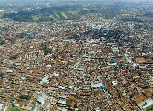 A section of Kibera slums from the air.