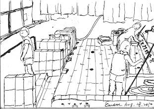 Photo: 浴廁2010.08.28鋼筆畫 生活在監獄裡沒有所謂的私密空間,就連如廁沐浴也一樣… 一條龍式的小便池,蹲式馬桶加上無門的半截矮牆,大小便就這麼解決,連上廁所的人數都用號碼牌做限制… 洗澡,就用水桶接水龍頭沖水,洗衣就在長洗手台手洗,而且還限定時間… 因為空間要達到最大的利用,通風不佳的浴室,正上方通常晾滿了衣服… 我還真搞不懂…為何還是有人關不怕,一來再來…