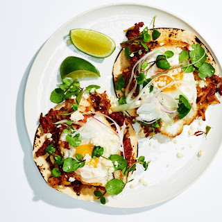 Chorizo Breakfast Tacos with Potato Hash and Fried Eggs Recipe