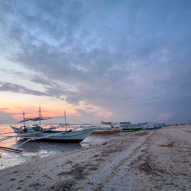 Boat At Dawn by Geoffrey Wols - Transportation Boats ( sand, sunrise, beach, bantayan island, sunset, philippines, water, low tide, boat,  )
