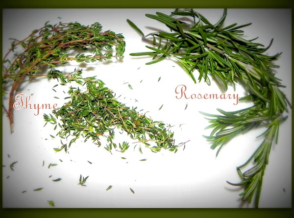 Chop up your thyme & rosemary for soup.