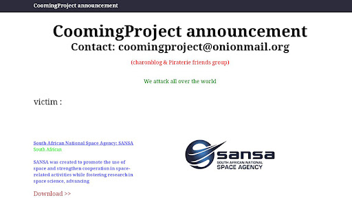 CoomingProject claims it is responsible for the attack on SANSA.