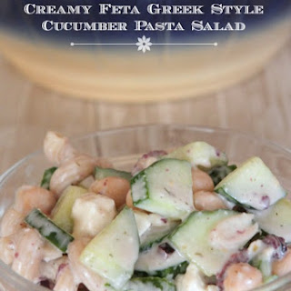 Creamy Feta Greek Style Cucumber Pasta Salad