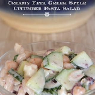 Creamy Feta Greek Style Cucumber Pasta Salad.