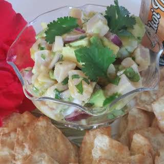 Passion Fruit Juice (Lilikoi) Ceviche with Avocado.