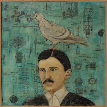 Photo: Tesla and His Favorite Things, 20 x 20, encaustic collage