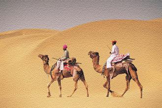 Photo: Two men on camelback in desert, Jaiselmer, India546003ͤ