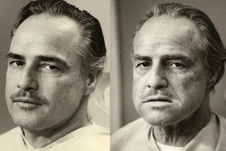 """Photo: Marlom Brando as 47 anos, antes e depois da maquiagem em """"O Poderoso Chefão"""""""