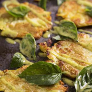 Crispy Roasted Smashed Potatoes with Basil Aioli