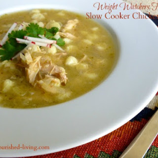 Easy Slow Cooker Chicken Posole Soup.