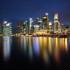 Skyline (long exposure) by Ken Goh - City,  Street & Park  Skylines