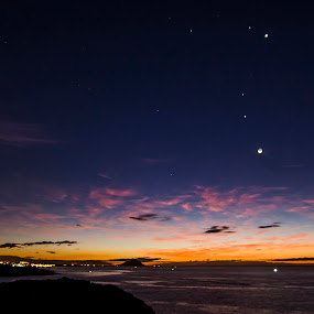 Meeting of the planets by Peter Louer - Landscapes Starscapes ( moon, mars, dawn, tenerife, jupiter, astrophotography, landscape, venus )