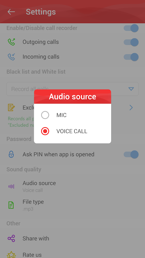 Automatic Call Recorder (ACR) Pro – Screenshot