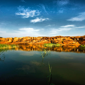 Badami by Narayna Gopi - Landscapes Waterscapes