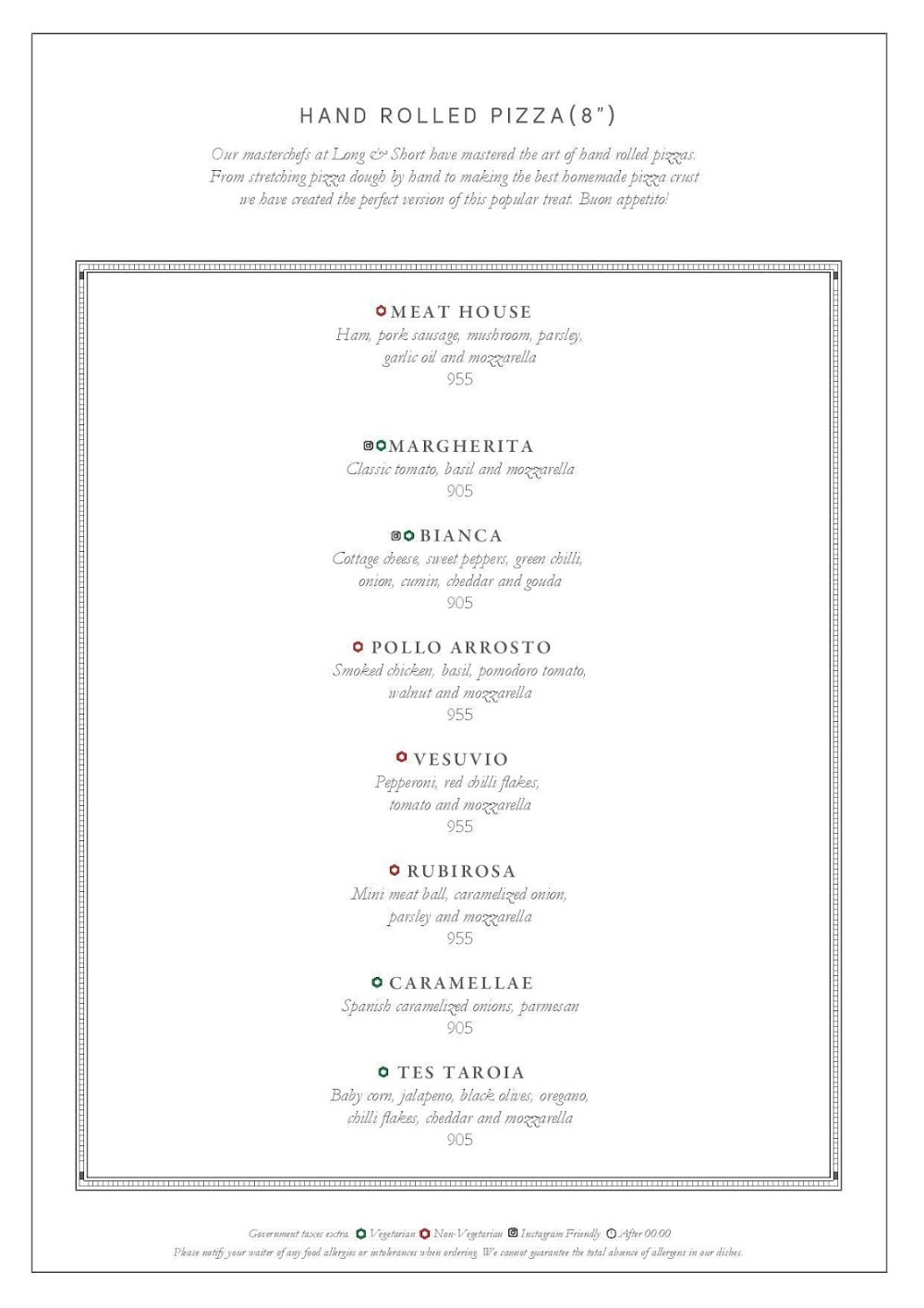 Long & Short - InterContinental menu 8