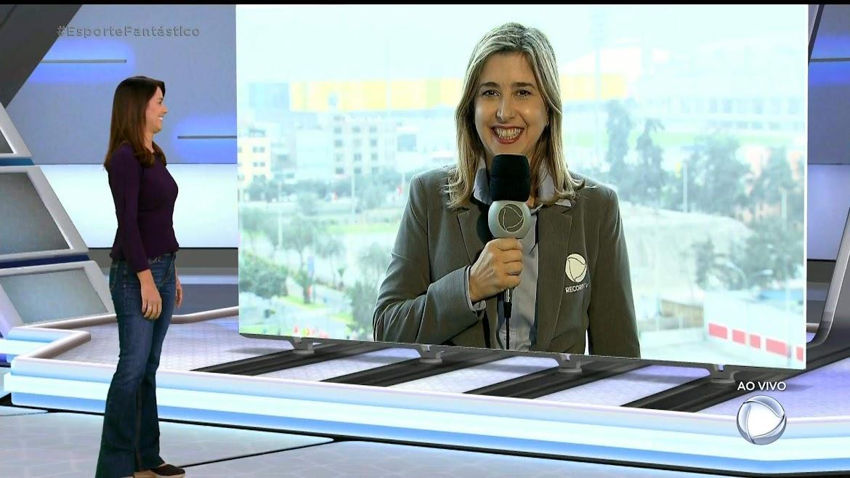 Mylena Ciribelli abrindo a cobertura do Pan no 'Esporte Fantástico', diretamente de Lima
