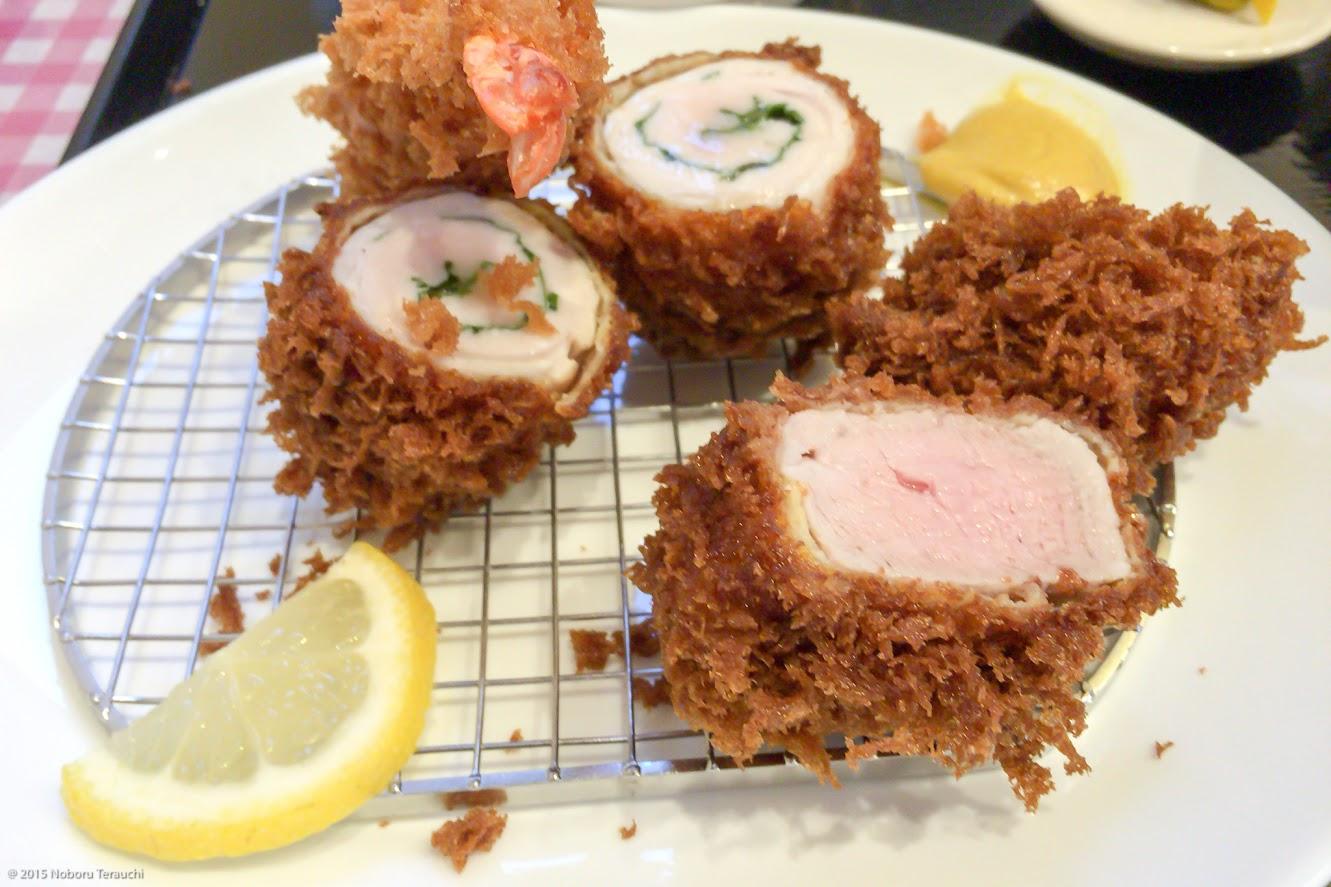 ヒレかつ・大葉チキンロール・海老フライの盛り合わせ定食