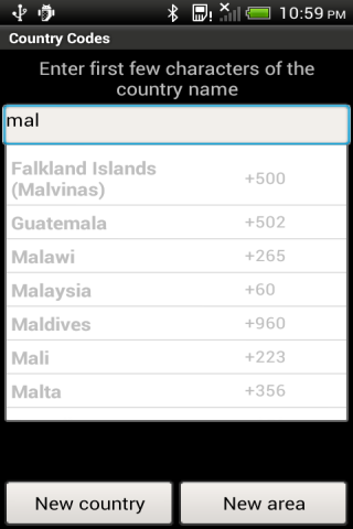 Country Codes- screenshot