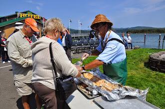 Photo: serving salmon