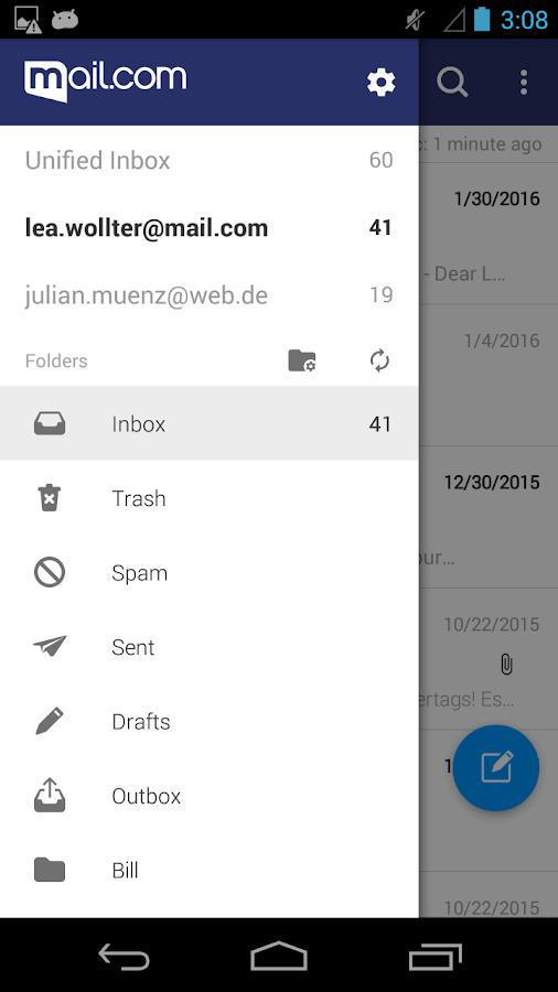 mail.com mail – Capture d'écran