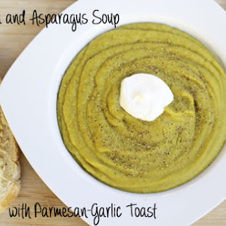 Split Pea and Asparagus Soup with Parmesan-Garlic Toast