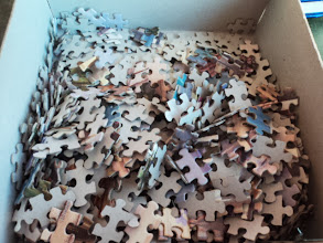 Photo: We did not get the whole puzzle together in two days... but we did do a decent job of it.