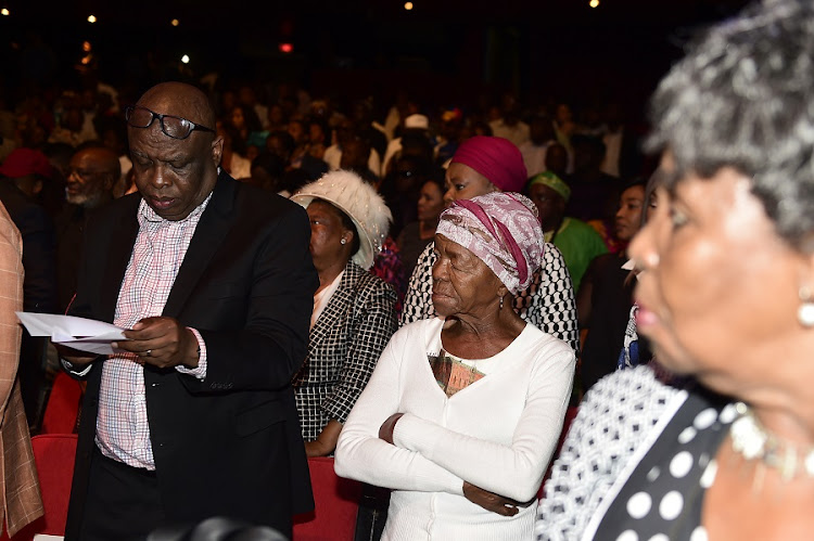 Mary Twala during the memorial service of legendary actor Joe 'Sdumo' Mafela at the Johannesburg Theatre on March 23, 2017 in Johannesburg, South Africa.