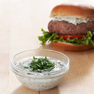 Best Ever Juicy Burger with Creamy Chimichurri Sauce.