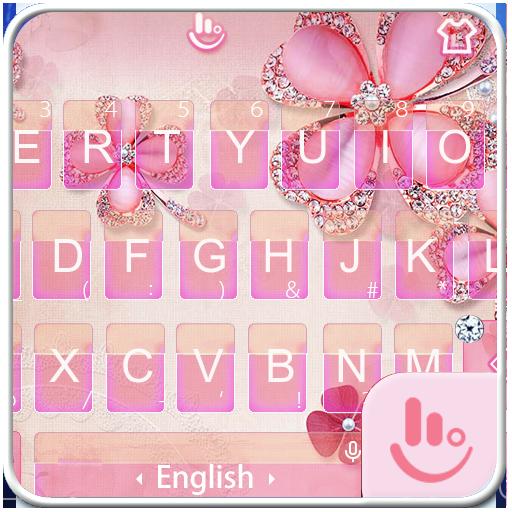 Pink Flower Diamond Keyboard Theme