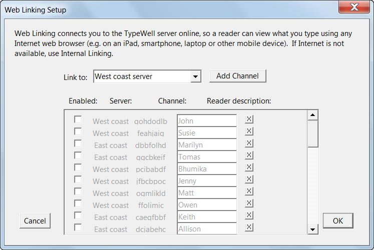 Web Linking Setup dialog shows numerous West and East Coast channels disabled
