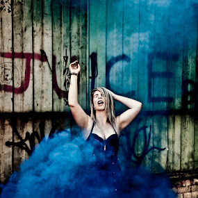 Juice by Antony Sendall - People Fine Art ( clouds, model, building, billowing, bizarre, smoky, smoke, sexy, blonde, blue, graffiti, derelict, billows, surreal, cleavage, reaching up,  )