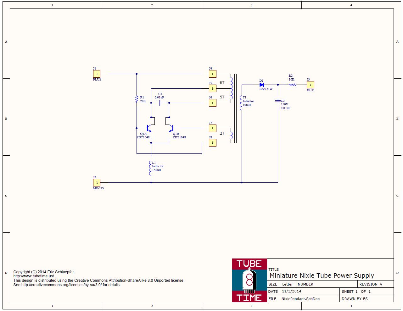 Photo: Miniature Nixie Power Supply Schematic