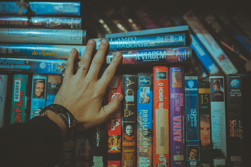 collection of VHS tapes